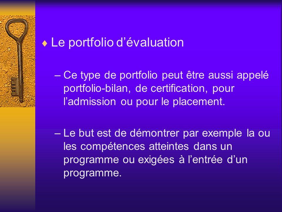 Le portfolio dévaluation –Ce type de portfolio peut être aussi appelé portfolio-bilan, de certification, pour ladmission ou pour le placement. –Le but