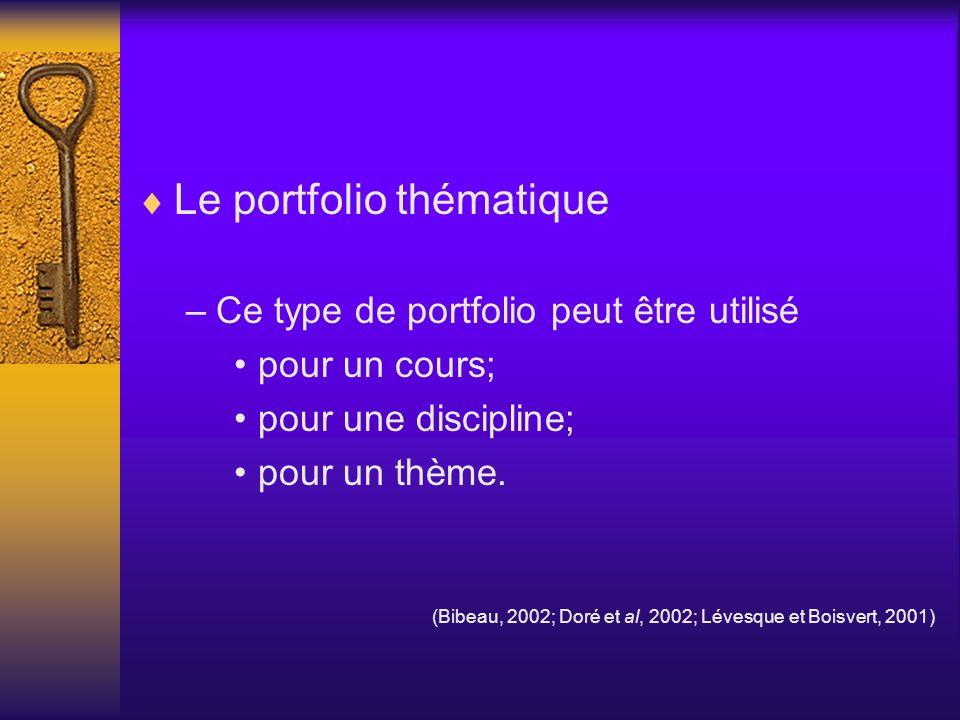 Le portfolio thématique –Ce type de portfolio peut être utilisé pour un cours; pour une discipline; pour un thème. (Bibeau, 2002; Doré et al, 2002; Lé