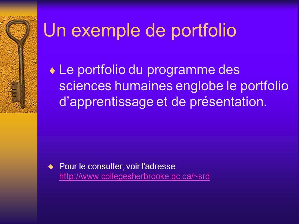 Un exemple de portfolio Le portfolio du programme des sciences humaines englobe le portfolio dapprentissage et de présentation. Pour le consulter, voi