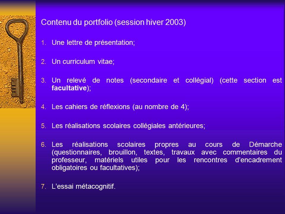 Contenu du portfolio (session hiver 2003) Une lettre de présentation; Un curriculum vitae; Un relevé de notes (secondaire et collégial) (cette section