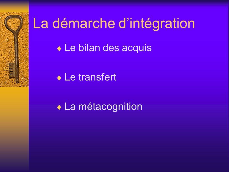 La démarche dintégration Le bilan des acquis Le transfert La métacognition