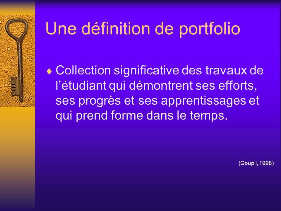 Quelques caractéristiques Le portfolio en enseignement : met laccent sur le processus dapprentissage; amène lélève à participer à lévaluation de ses apprentissages; stimule la réflexion individuelle;