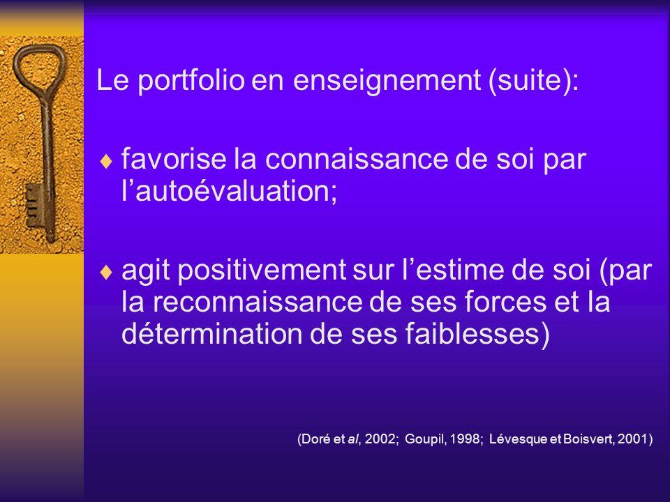 Le portfolio en enseignement (suite): favorise la connaissance de soi par lautoévaluation; agit positivement sur lestime de soi (par la reconnaissance