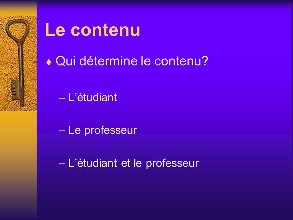 Le contenu Qui détermine le contenu? –Létudiant –Le professeur –Létudiant et le professeur