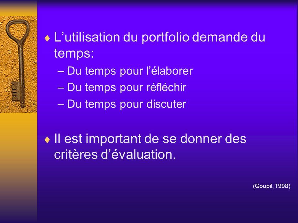Les types de portfolio Dapprentissage De présentation Dévaluation Thématique