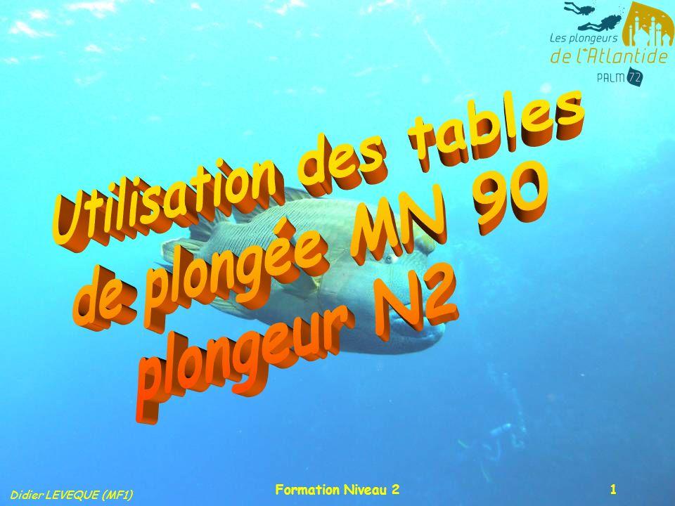 Didier LEVEQUE (MF1) Formation Niveau 22 Les tables MN 90 La plongée consécutive (intervalle < 15 mn): Cest un cas fréquent pour les plongeurs faisant de lencadrement (passage dexamen), ou par obligation (ancre accrochée, objet de valeur tombé dans leau).