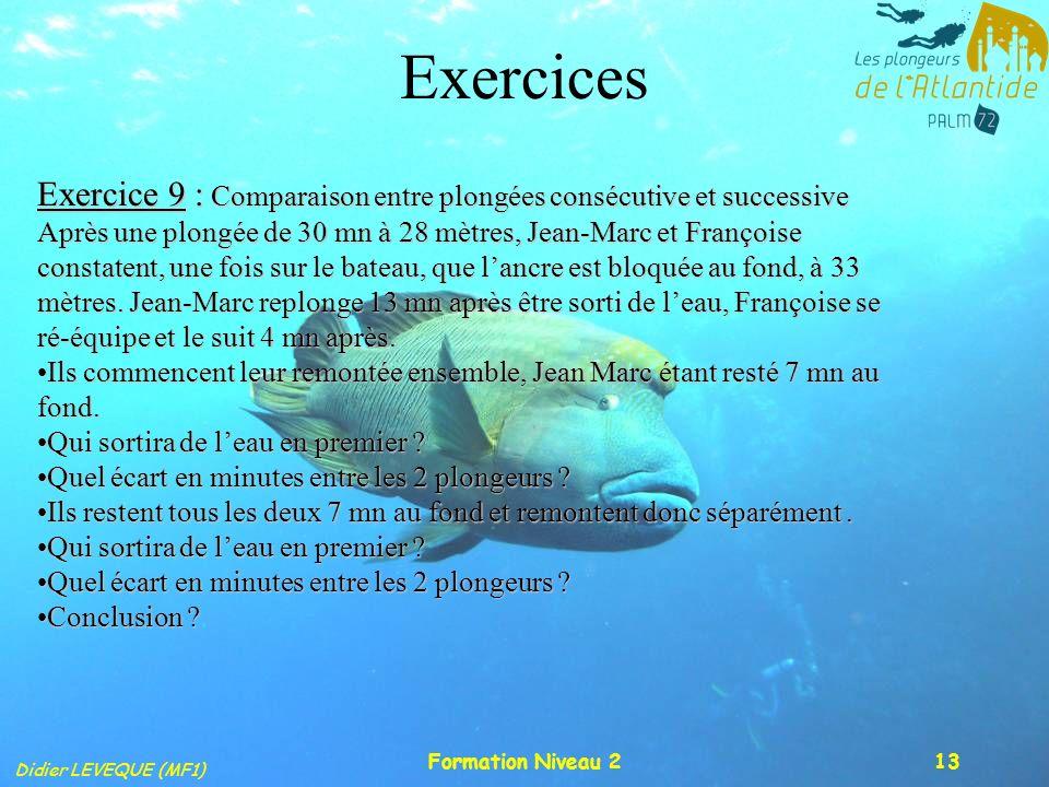 Didier LEVEQUE (MF1) Formation Niveau 213 Exercices Exercice 9 : Comparaison entre plongées consécutive et successive Après une plongée de 30 mn à 28