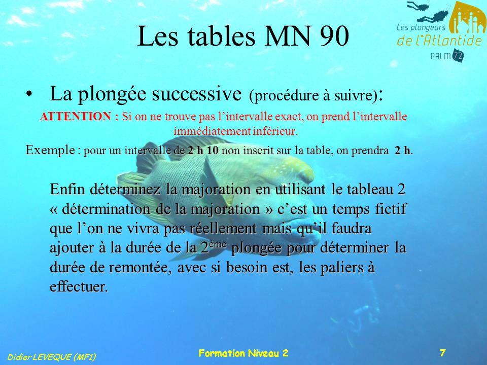 Didier LEVEQUE (MF1) Formation Niveau 27 Les tables MN 90 La plongée successive (procédure à suivre) : ATTENTION : Si on ne trouve pas lintervalle exa