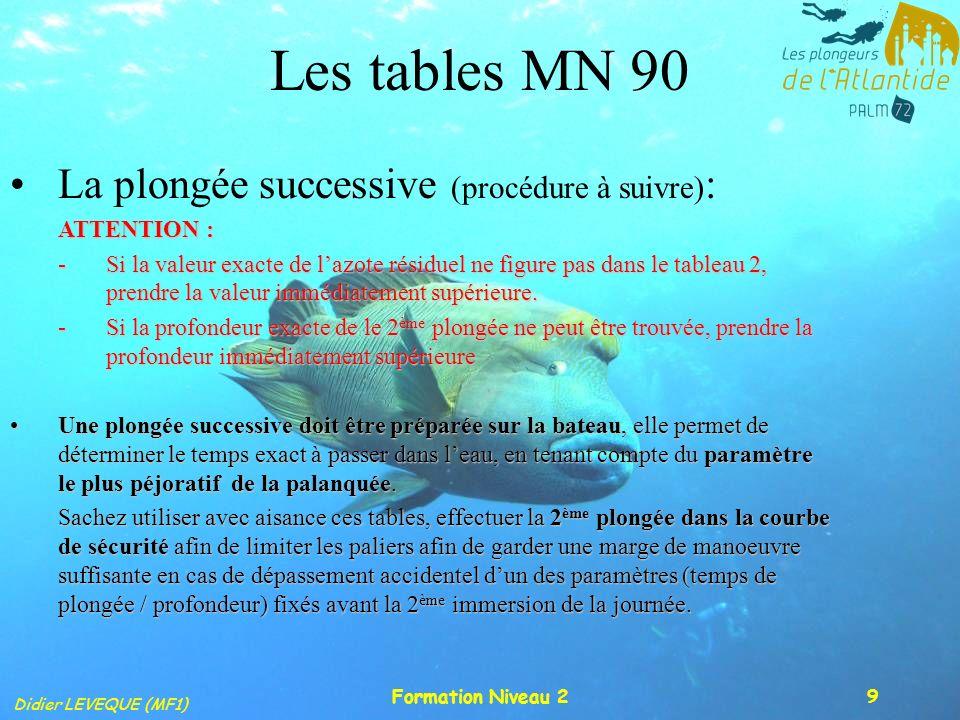 Didier LEVEQUE (MF1) Formation Niveau 210 Les tables MN 90 La plongée successive (procédure à suivre) : T 1 15m/mn< Remontée <17m/mn Palier P1 P 2 T 2 Majoration Majo + T 2 Palier Intervalle de surface 1 ère plongée (matin)2 ème plongée (après-midi)