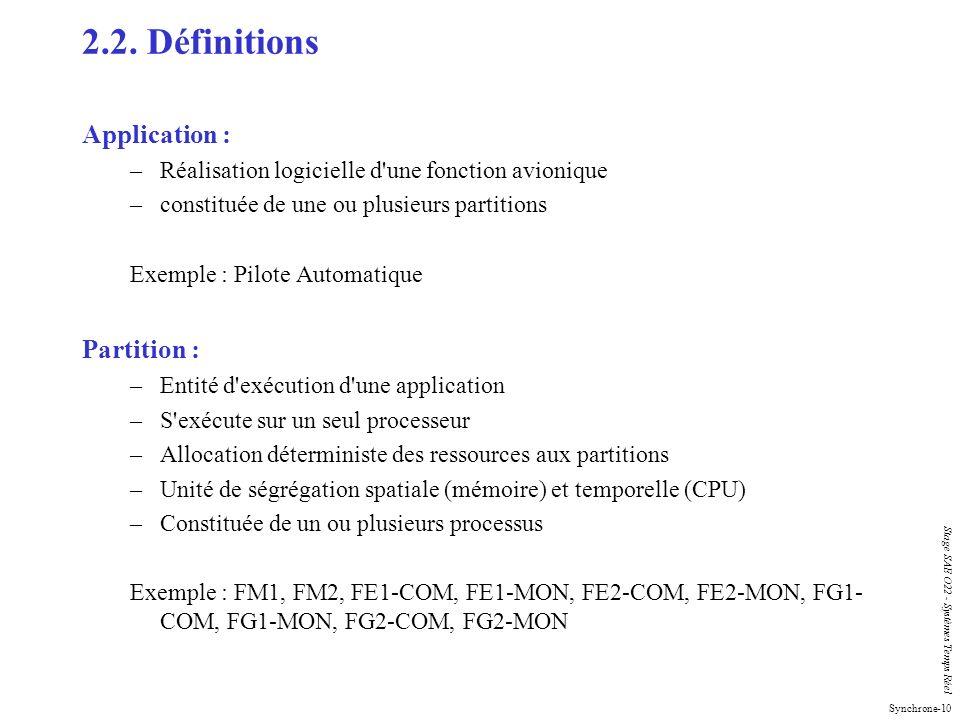 Synchrone-10 Stage SAE O22 - Systèmes Temps Réel 2.2. Définitions Application : –Réalisation logicielle d'une fonction avionique –constituée de une ou