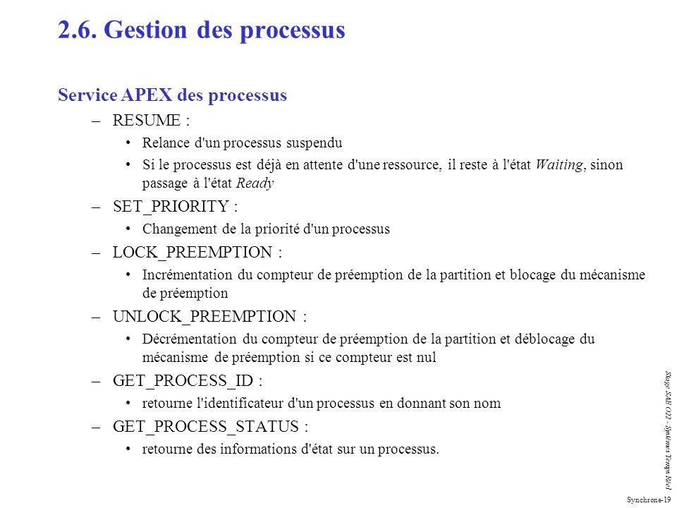 Synchrone-19 Stage SAE O22 - Systèmes Temps Réel 2.6. Gestion des processus Service APEX des processus –RESUME : Relance d'un processus suspendu Si le