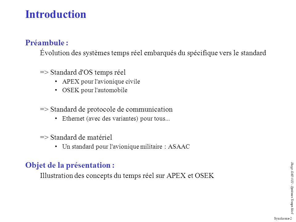 Synchrone-2 Stage SAE O22 - Systèmes Temps Réel Introduction Préambule : Évolution des systèmes temps réel embarqués du spécifique vers le standard =>
