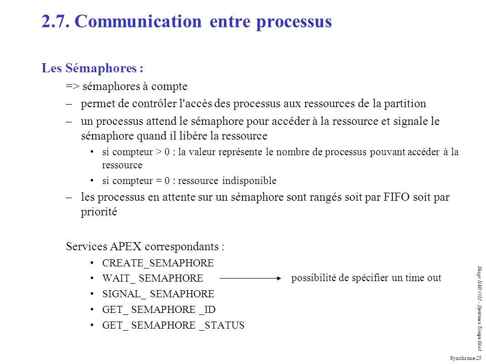Synchrone-25 Stage SAE O22 - Systèmes Temps Réel 2.7. Communication entre processus Les Sémaphores : => sémaphores à compte –permet de contrôler l'acc