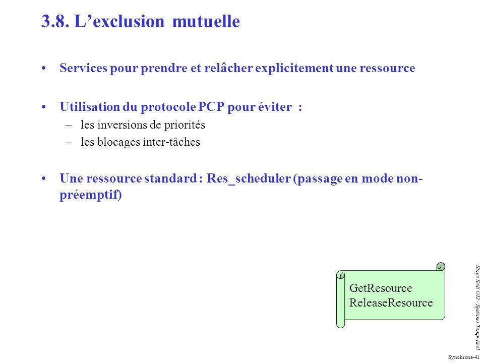 Synchrone-41 Stage SAE O22 - Systèmes Temps Réel Services pour prendre et relâcher explicitement une ressource Utilisation du protocole PCP pour évite