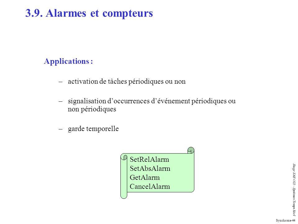 Synchrone-44 Stage SAE O22 - Systèmes Temps Réel Applications : –activation de tâches périodiques ou non –signalisation doccurrences dévénement périod