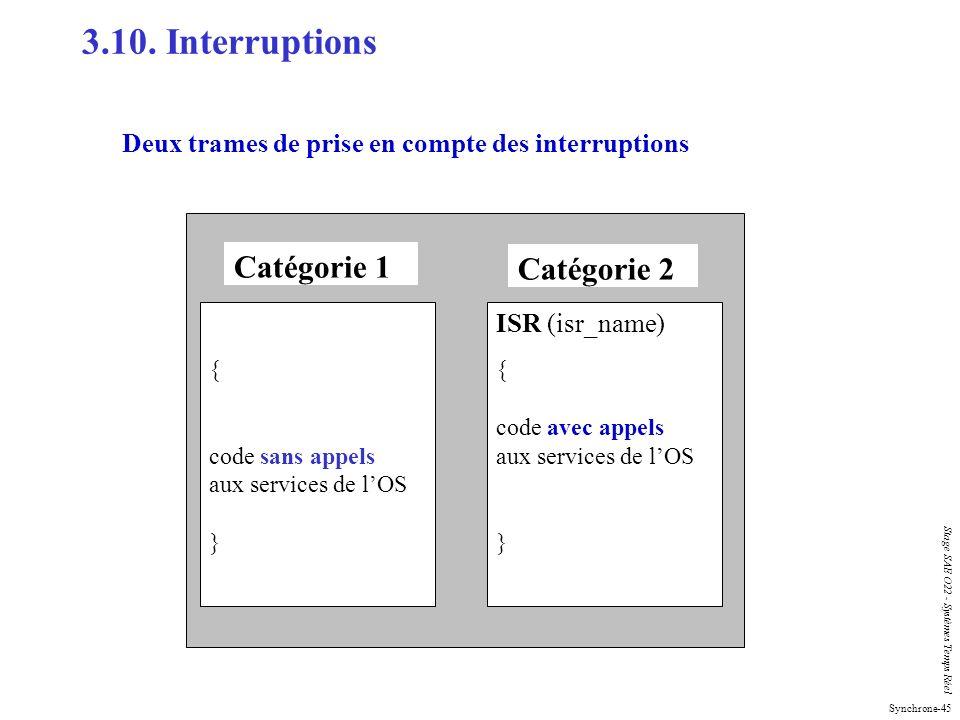 Synchrone-45 Stage SAE O22 - Systèmes Temps Réel Deux trames de prise en compte des interruptions { code sans appels aux services de lOS } ISR (isr_na