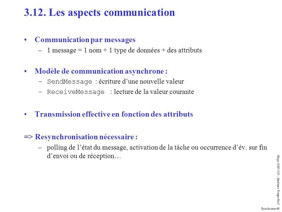 Synchrone-46 Stage SAE O22 - Systèmes Temps Réel 3.12. Les aspects communication Communication par messages –1 message = 1 nom + 1 type de données + d