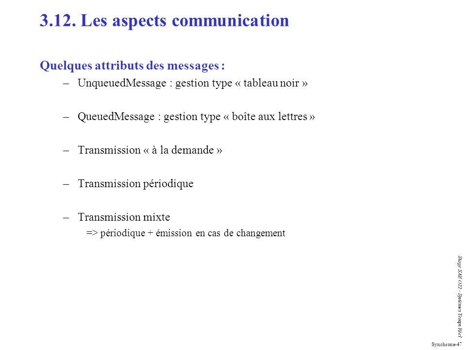Synchrone-47 Stage SAE O22 - Systèmes Temps Réel 3.12. Les aspects communication Quelques attributs des messages : –UnqueuedMessage : gestion type « t