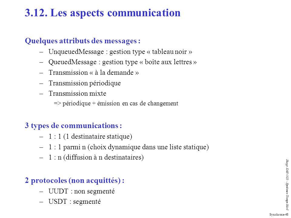 Synchrone-48 Stage SAE O22 - Systèmes Temps Réel 3.12. Les aspects communication Quelques attributs des messages : –UnqueuedMessage : gestion type « t