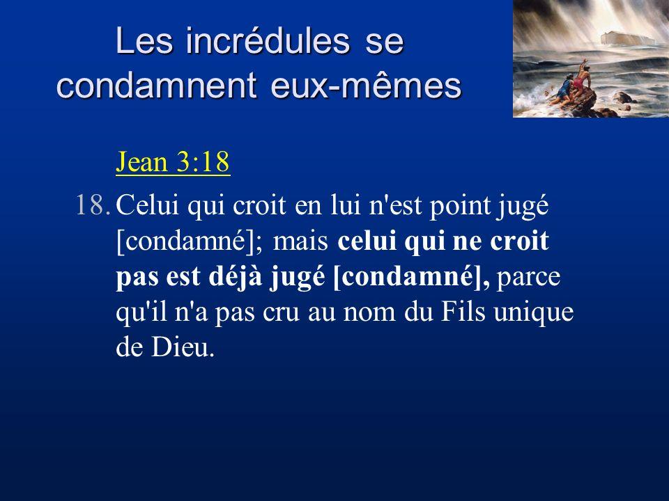Jean 3:18 18.Celui qui croit en lui n'est point jugé [condamné]; mais celui qui ne croit pas est déjà jugé [condamné], parce qu'il n'a pas cru au nom