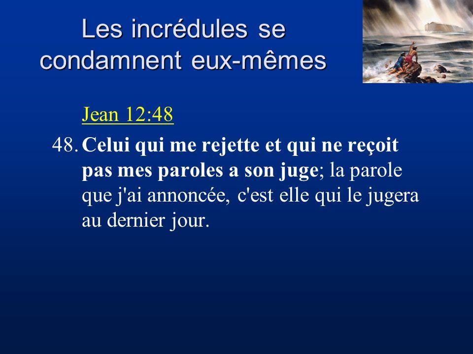 Les incrédules se condamnent eux-mêmes Jean 12:48 48.Celui qui me rejette et qui ne reçoit pas mes paroles a son juge; la parole que j'ai annoncée, c'