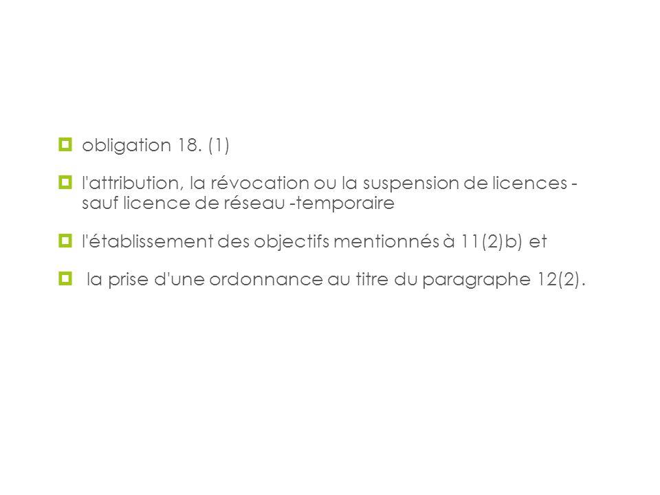 Audiences publiques obligation 18. (1) l'attribution, la révocation ou la suspension de licences - sauf licence de réseau -temporaire l'établissement