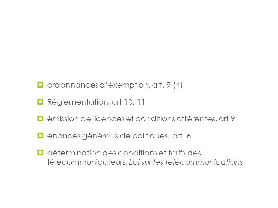 Les pouvoirs et techniques d'intervention du CRTC ordonnances dexemption, art. 9 (4) Réglementation, art 10, 11 émission de licences et conditions aff