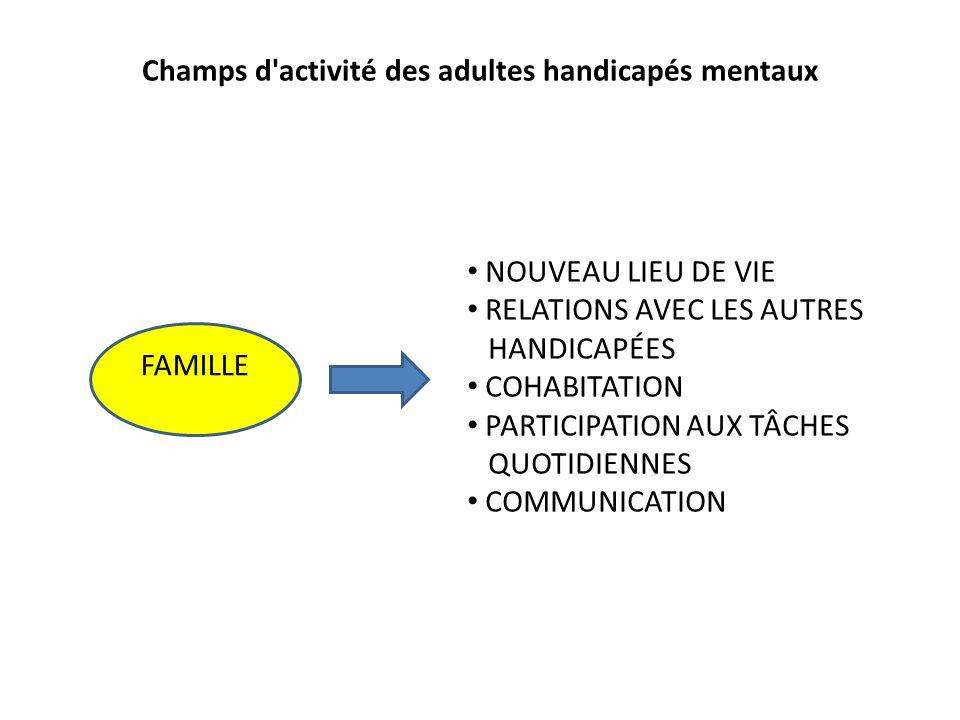 FAMILLE Champs d'activité des adultes handicapés mentaux NOUVEAU LIEU DE VIE RELATIONS AVEC LES AUTRES HANDICAPÉES COHABITATION PARTICIPATION AUX TÂCH