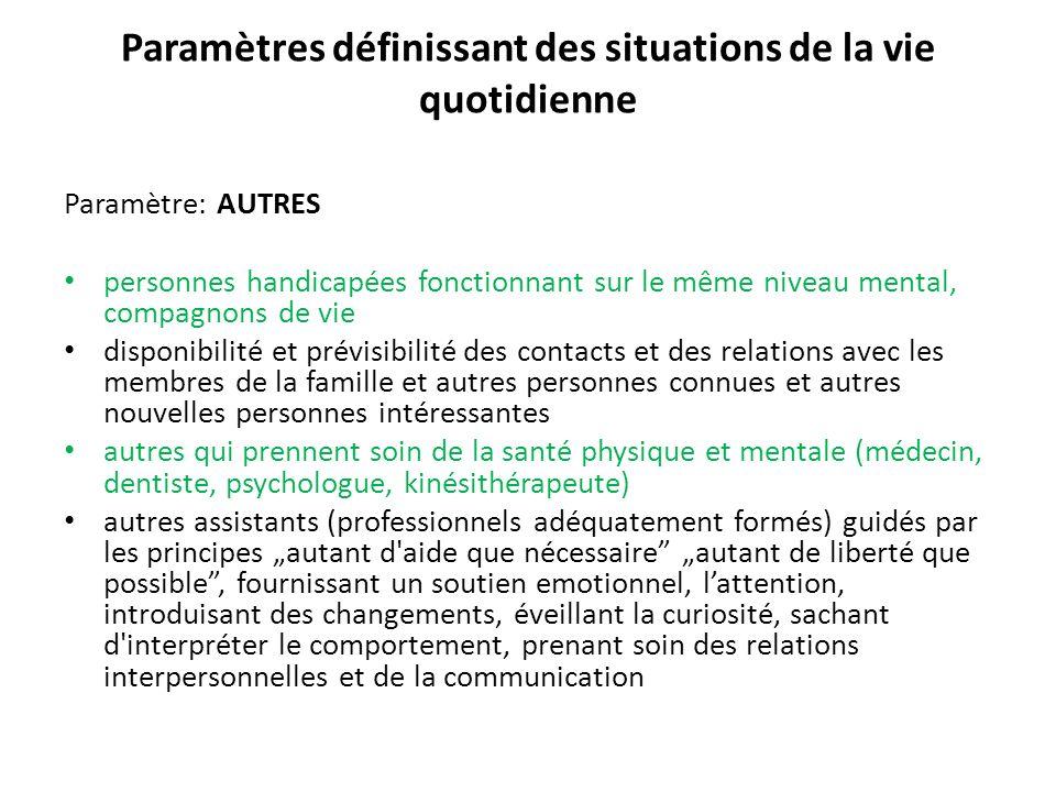 Paramètres définissant des situations de la vie quotidienne Paramètre: AUTRES personnes handicapées fonctionnant sur le même niveau mental, compagnons