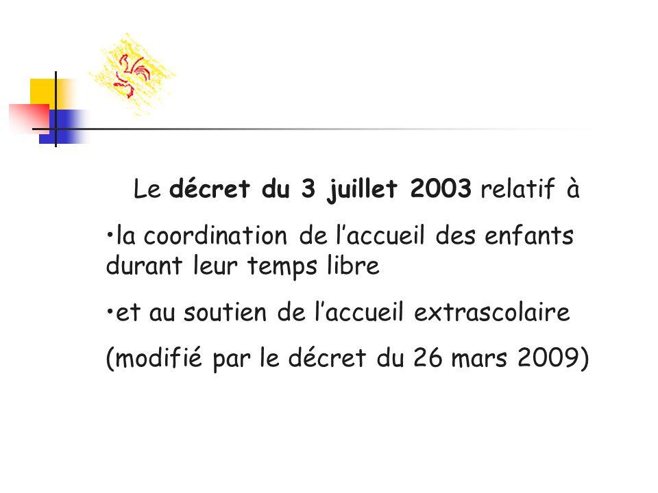 Le décret du 3 juillet 2003 relatif à la coordination de laccueil des enfants durant leur temps libre et au soutien de laccueil extrascolaire (modifié