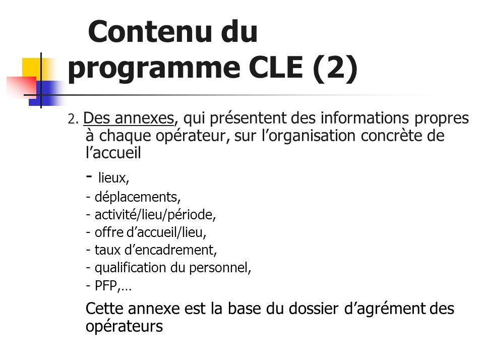 Contenu du programme CLE (2) 2. Des annexes, qui présentent des informations propres à chaque opérateur, sur lorganisation concrète de laccueil - lieu