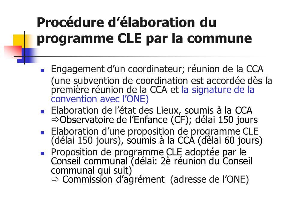 Procédure délaboration du programme CLE par la commune Engagement dun coordinateur; réunion de la CCA (une subvention de coordination est accordée dès