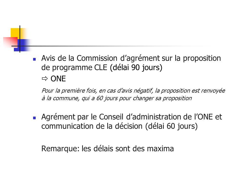 Avis de la Commission dagrément sur la proposition de programme CLE (délai 90 jours) ONE Pour la première fois, en cas davis négatif, la proposition e