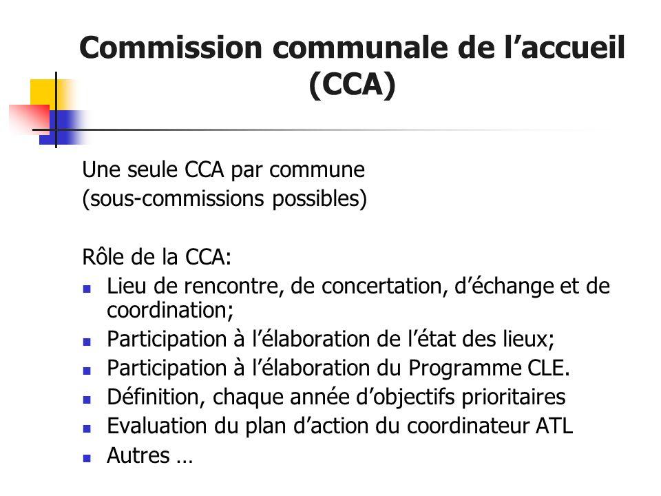 Commission communale de laccueil (CCA) Une seule CCA par commune (sous-commissions possibles) Rôle de la CCA: Lieu de rencontre, de concertation, déch
