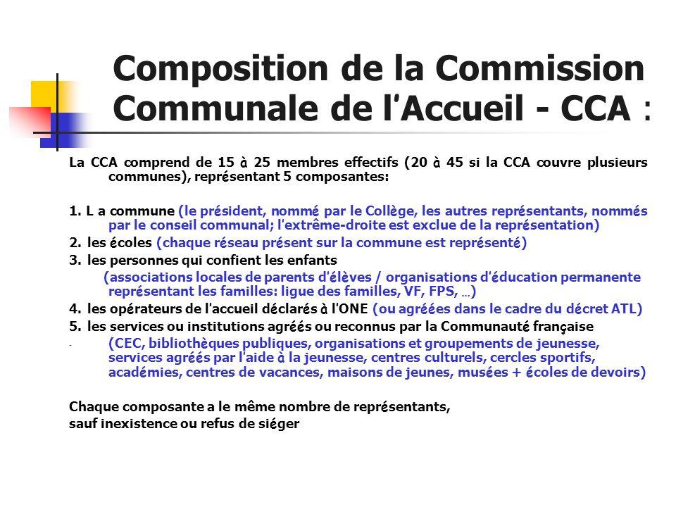 Composition de la Commission Communale de l Accueil - CCA : La CCA comprend de 15 à 25 membres effectifs (20 à 45 si la CCA couvre plusieurs communes)