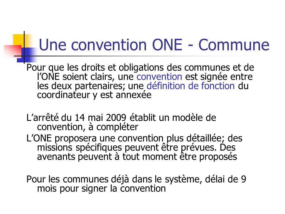 Une convention ONE - Commune Pour que les droits et obligations des communes et de lONE soient clairs, une convention est signée entre les deux parten
