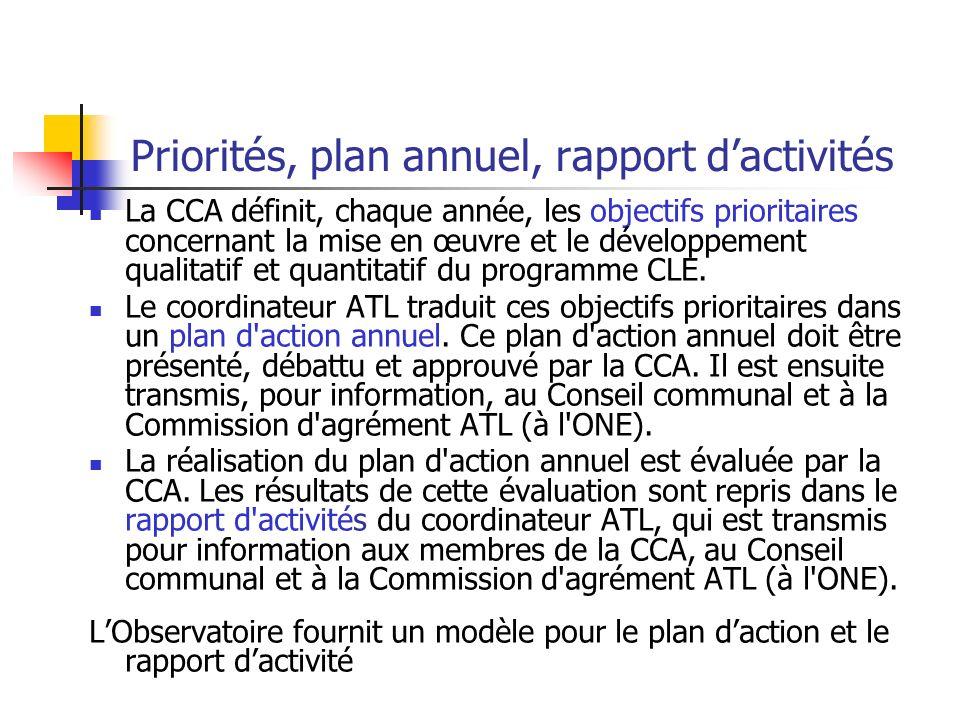 Priorités, plan annuel, rapport dactivités La CCA définit, chaque année, les objectifs prioritaires concernant la mise en œuvre et le développement qu