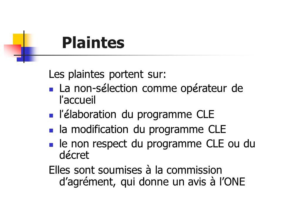 Plaintes Les plaintes portent sur: La non-s é lection comme op é rateur de l accueil l é laboration du programme CLE la modification du programme CLE