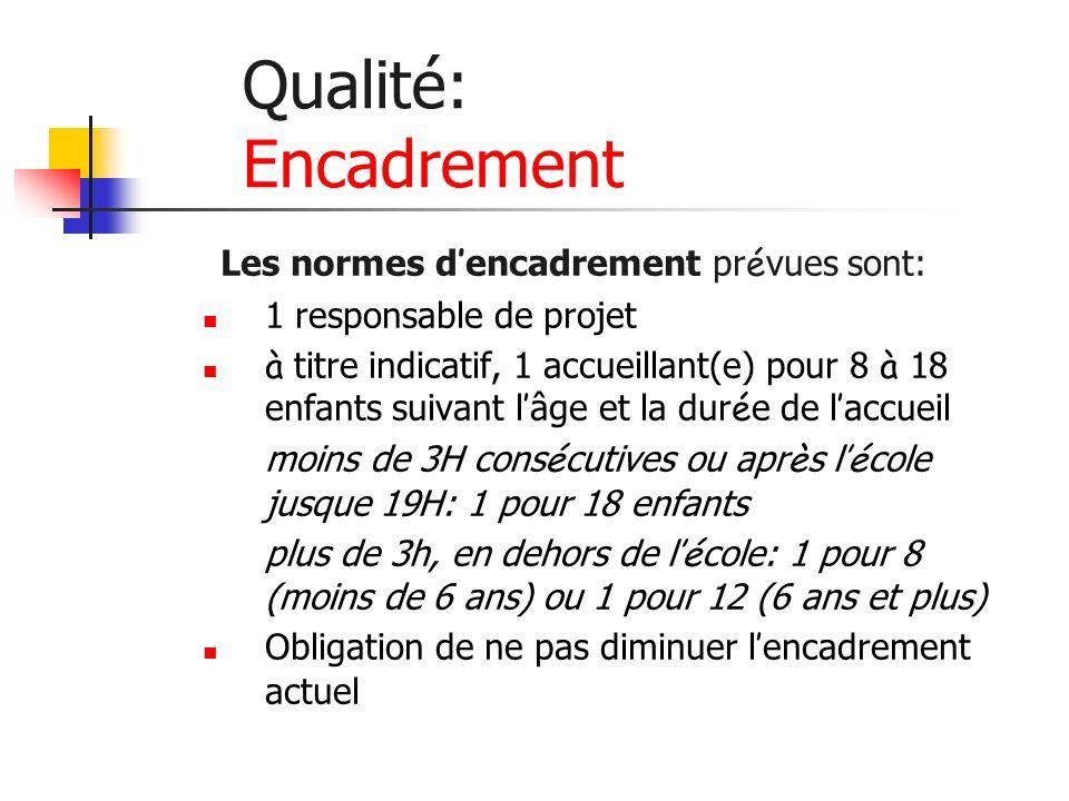 Qualité: Encadrement Les normes d encadrement pr é vues sont: 1 responsable de projet à titre indicatif, 1 accueillant(e) pour 8 à 18 enfants suivant