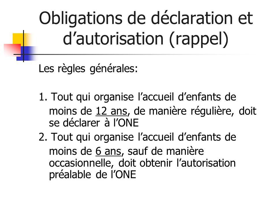Obligations de déclaration et dautorisation (rappel) Les règles générales: 1. Tout qui organise laccueil denfants de moins de 12 ans, de manière régul