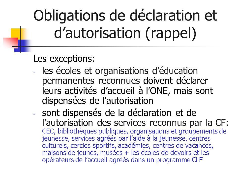 Obligations de déclaration et dautorisation (rappel) Les exceptions: - les écoles et organisations déducation permanentes reconnues doivent déclarer l