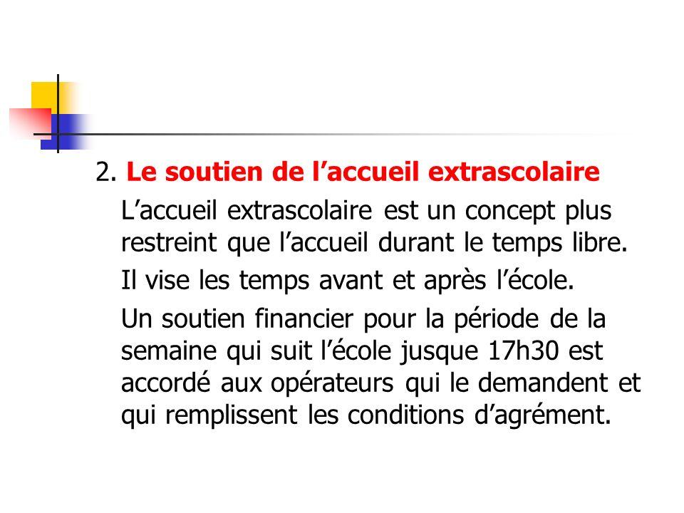 Le soutien de la Communauté française (1) Des budgets sont affectés à plusieurs volets: 1.Soutien aux organismes de formation agréés: Subvention au programme de formation à l attention des accueillants et responsables de projet
