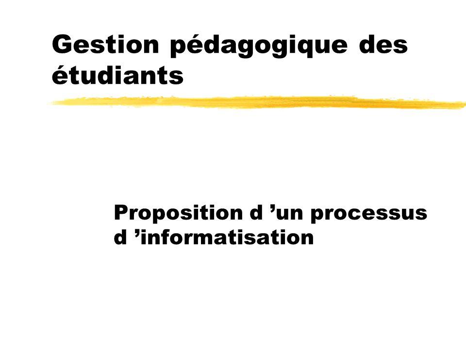 Gestion pédagogique des étudiants Proposition d un processus d informatisation