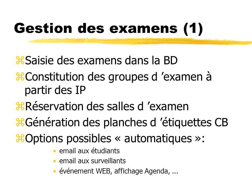 Gestion des examens (1) zSaisie des examens dans la BD zConstitution des groupes d examen à partir des IP zRéservation des salles d examen zGénération