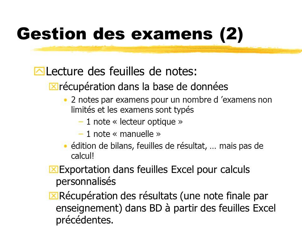 Gestion des examens (2) yLecture des feuilles de notes: xrécupération dans la base de données 2 notes par examens pour un nombre d examens non limités