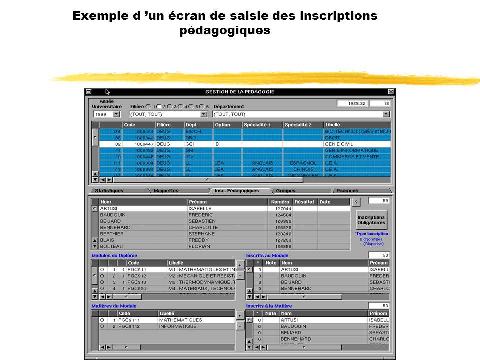 Exemple d un écran de saisie des inscriptions pédagogiques