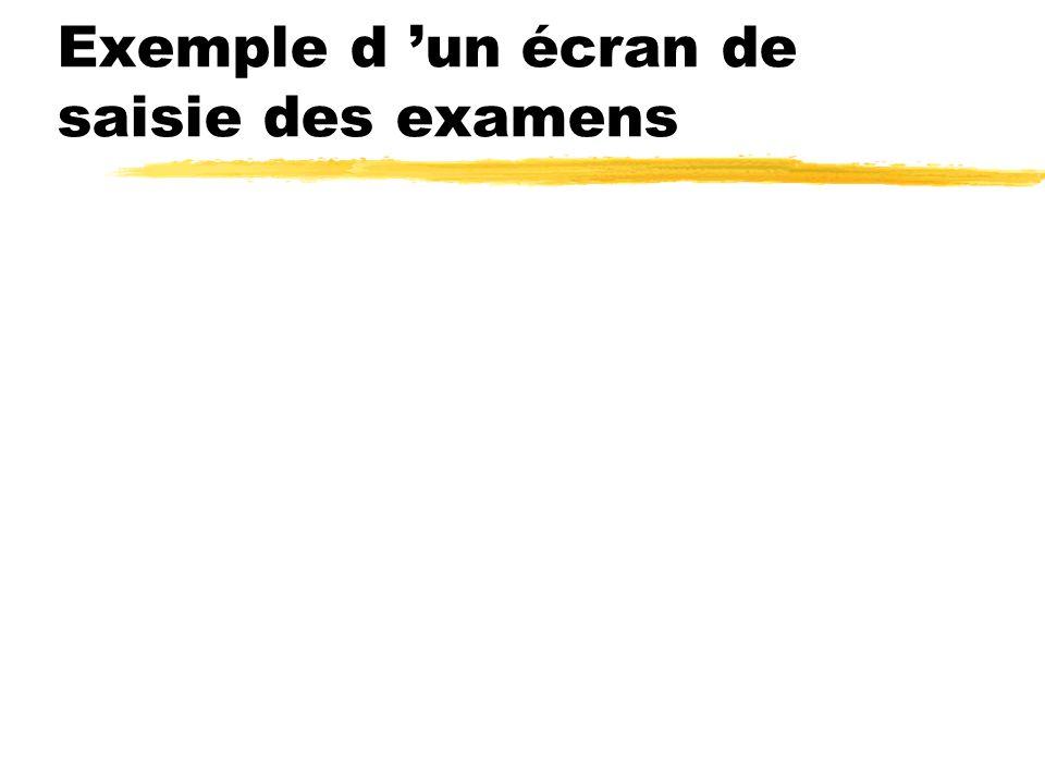 Exemple d un écran de saisie des examens