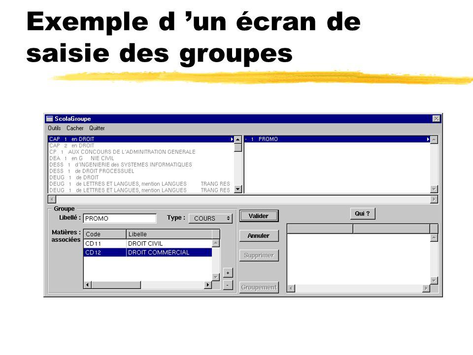 Exemple d un écran de saisie des groupes