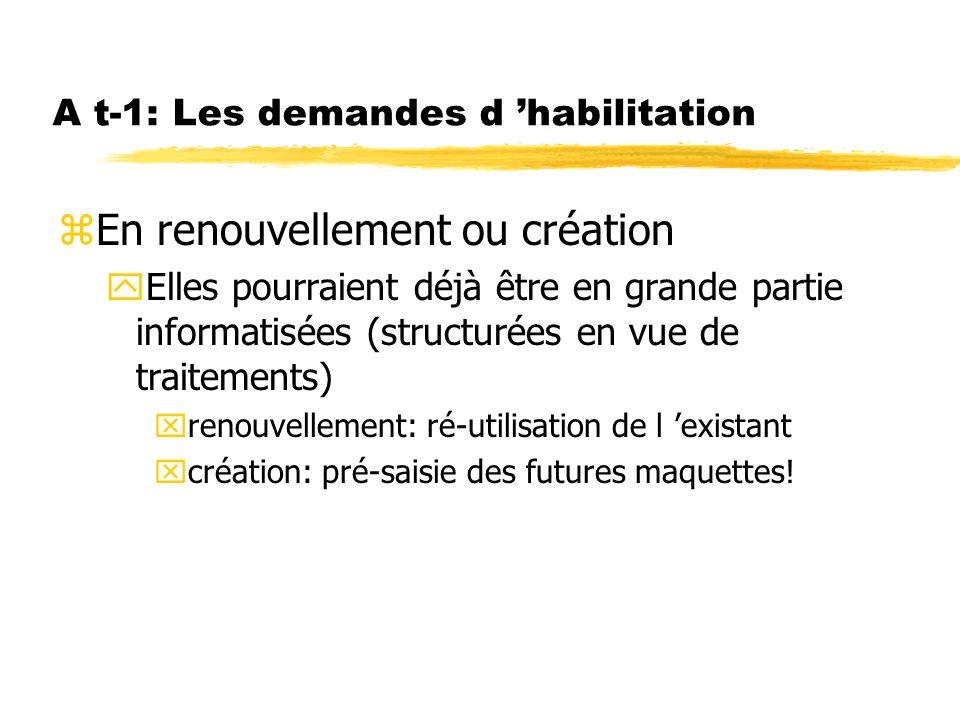 A t-1: Les demandes d habilitation zEn renouvellement ou création yElles pourraient déjà être en grande partie informatisées (structurées en vue de tr