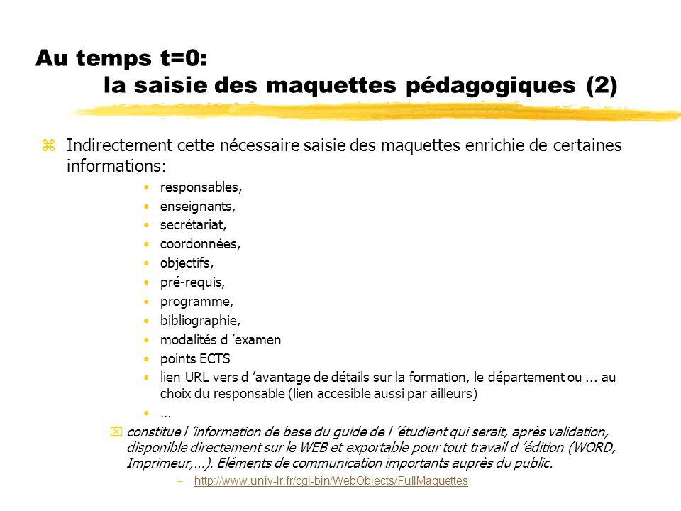 Au temps t=0: la saisie des maquettes pédagogiques (2) zIndirectement cette nécessaire saisie des maquettes enrichie de certaines informations: respon